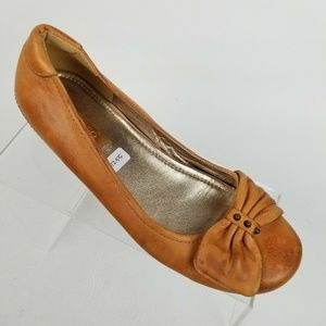 Ecco Womens Ballet Flats Brown Leather Bow Sz 6.5